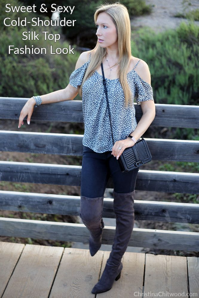 Sweet and Sexy Cold-Shoulder Silk Top Fashion Look