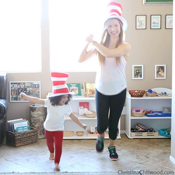 Thing 1 and Thing 2 Running with a Kite Exercise for Kids - Square
