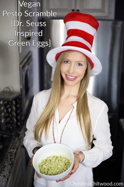 Vegan Pesto Scramble {Dr. Seuss Inspired Green Eggs}