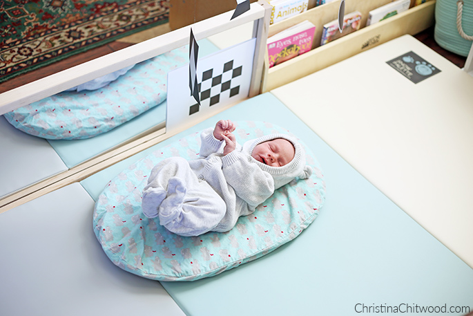 Enjoying His Montessori Newborn Baby Space