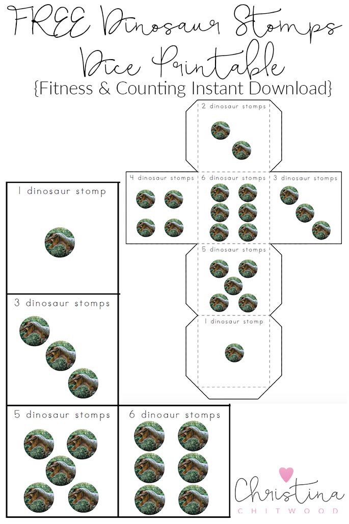 FREE Dinosaur Stomps Dice Printable {Fitness & Counting Instant Download}