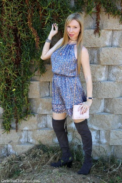 Joie Silk Dress, Ted Baker Crossbody Handbag, and Marc Fisher Boots - 2