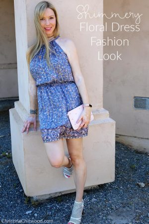 Shimmery Floral Dress Fashion Look
