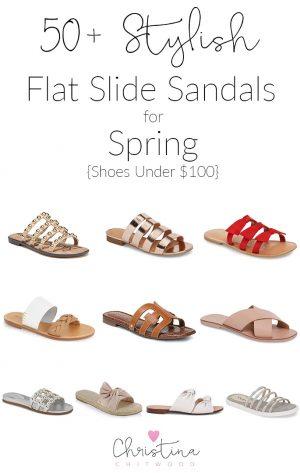 50+ Stylish Flat Slide Sandals for Spring {Shoes Under $100}