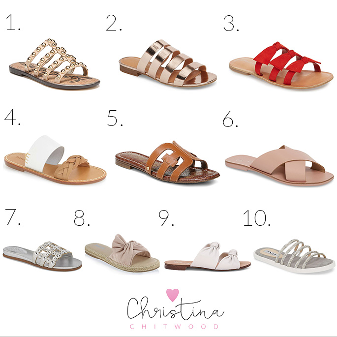 50+ Stylish Flat Slide Sandals for Spring {Shoes Under $100} - Square