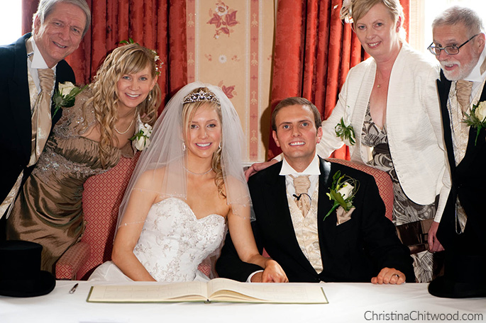 Christina and Tom Signing Marriage License with Parents