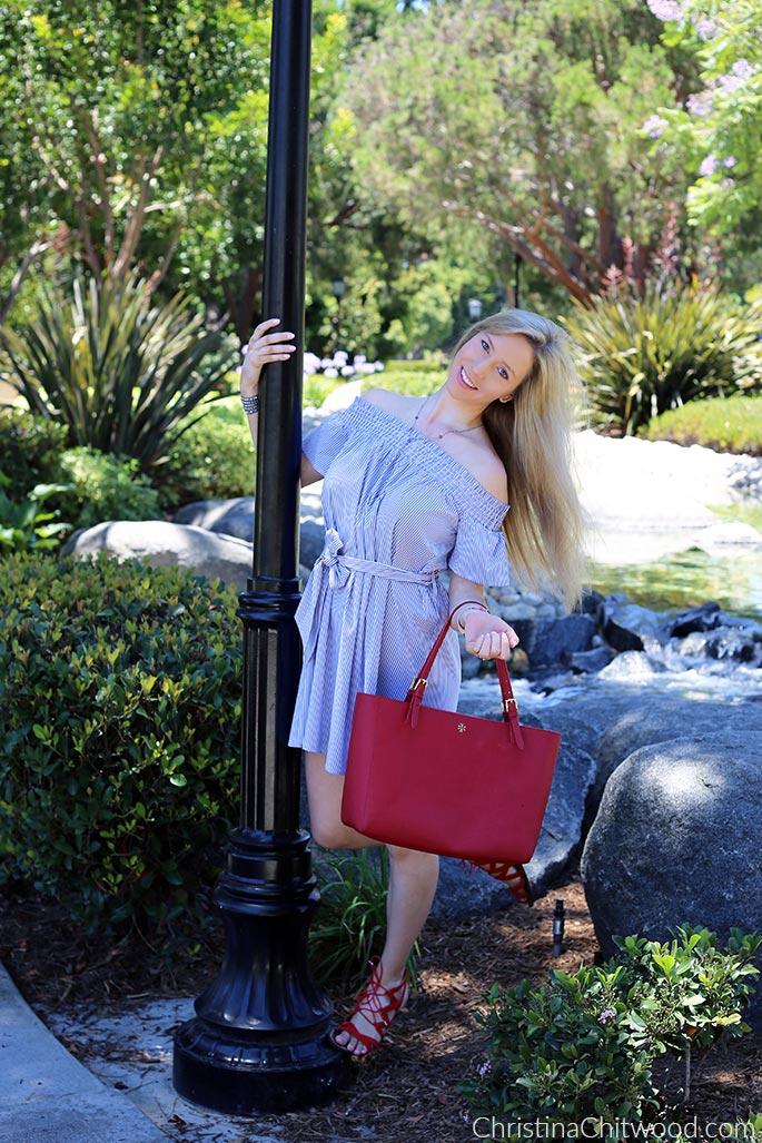 Aqua Dress, Tory Burch Handbag, and Sam Edelman Sandals - 3