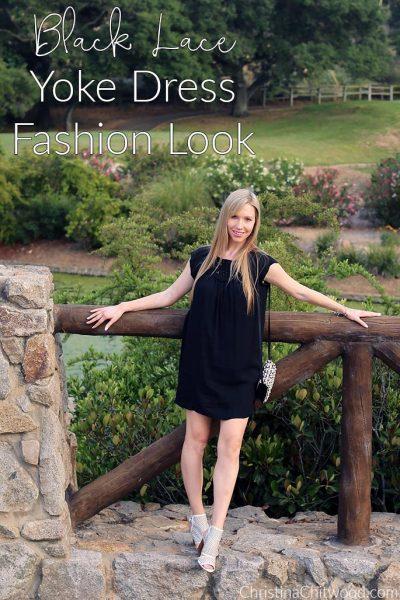 Black Lace Yoke Dress Fashion Look