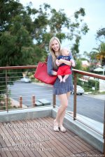Mom and Baby Boy Stylish Red, White, and Blue Fashion Look {Breastfeeding-Friendly Dress)
