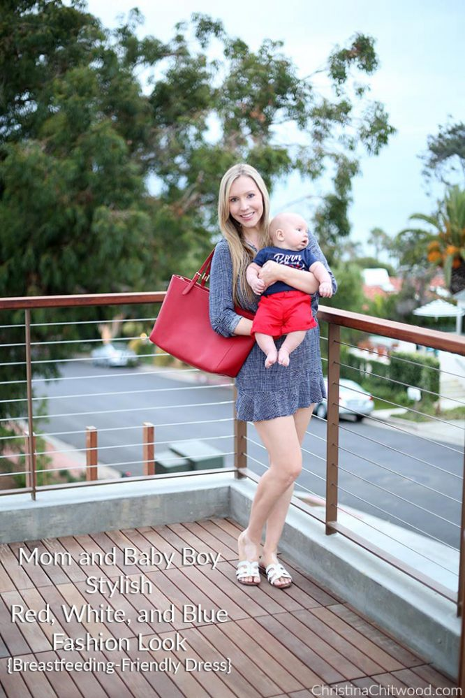 Mom and Baby Boy Stylish Red, White, and Blue Fashion Look {Breastfeeding-Friendly Dress}