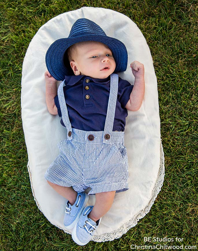 My Baby Boy Outdoors on the Grass Lying on a Topponcino at 4 Weeks Old