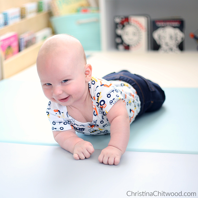 Our Baby Doing Tummy Time on His Play Mat at 3 Months Old