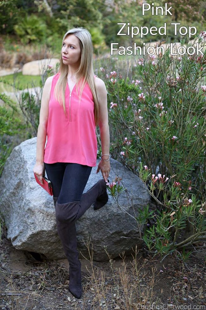 Pink Zipped Top Fashion Look