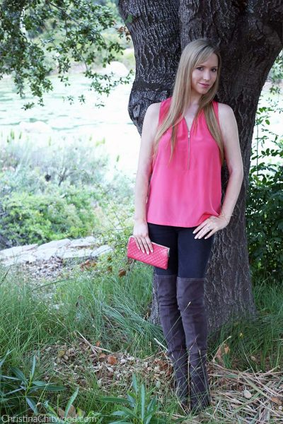 The Kooples Top, Frame Jeans, Hobo Lauren Clutch, and Marc Fisher Boots - 1
