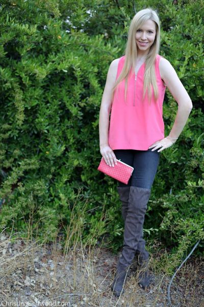 The Kooples Top, Frame Jeans, Hobo Lauren Clutch, and Marc Fisher Boots - 2