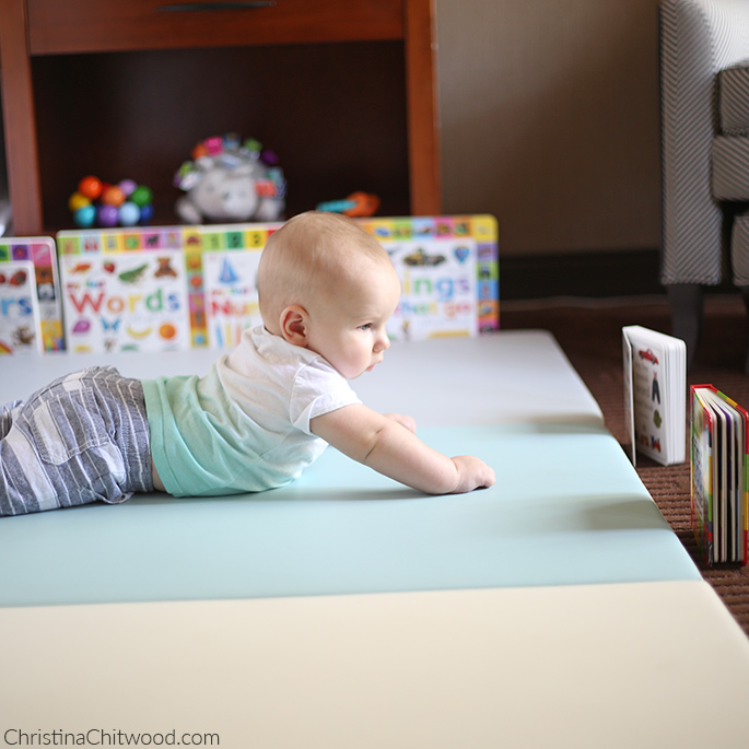 Our Baby Boy Concentrating in His Montessori Space on His Fourth Trip at 5 Months Old
