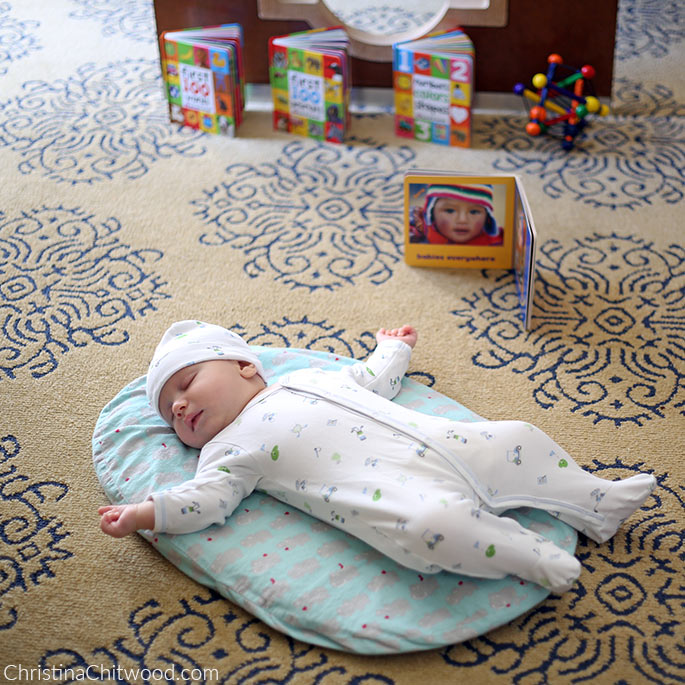 Our Baby Boy Enjoying His Sleep in His Montessori Space on His Second Trip at 2 Months Old