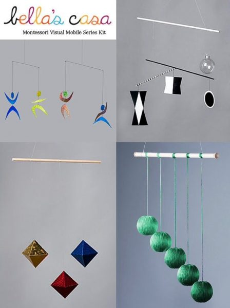 Montessori Mobiles - the Munari, the Octahedron, the Gobbi, and the Dancer