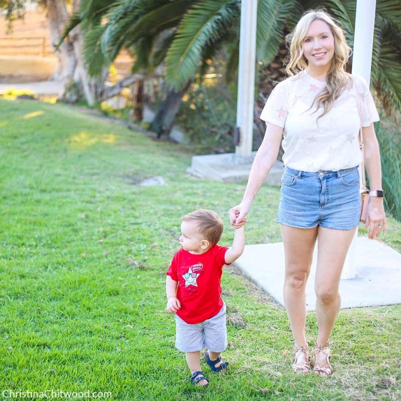 Amazon Fashion Top, Topshop Shorts, Gentle Souls Shoes, Nadri Earrings, and Apple Watch. Carter's Baby Boy and Toddler Boy Outfit - 2