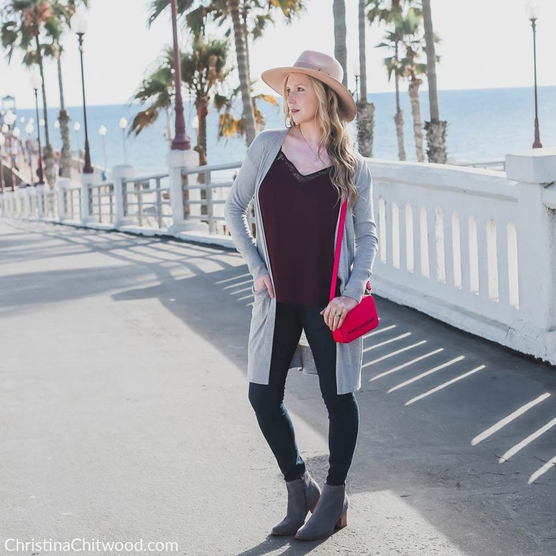Halogen Cardigan, 1.State Camisole, Good American Jeans, MARC JACOBS Handbag, Blondo Boots, Brixton Hat, Nadri Earrings, and Apple Watch - ChristinaChitwood.com - 2