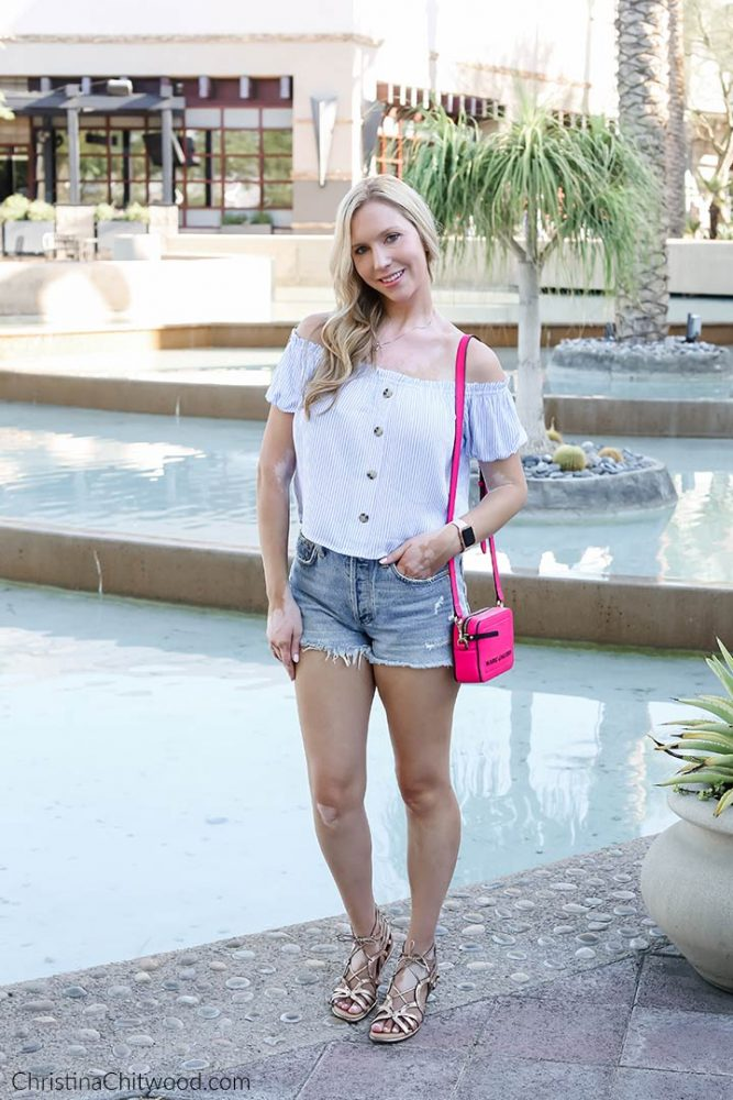 Women's H&M Top, AGOLDE Shorts, MARC JACOBS Handbag, Gentle Souls Sandals, Nadri Earrings, Apple Watch - ChristinaChitwood.com - 2