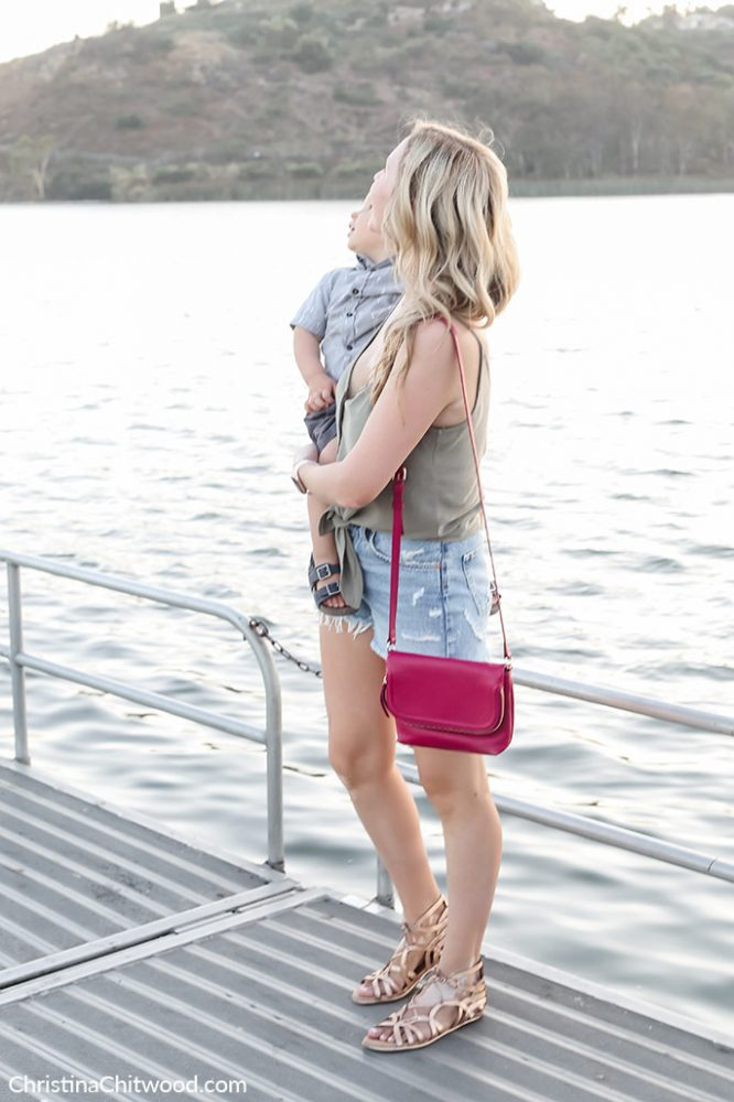 Women's Topshop Camisole, AGOLDE Shorts, Nordstrom Handbag, Gentle Souls Sandals, Nadri Earrings, and Apple Watch. Boys Sovereign Code Shirt, Billabong Shorts, and OshKosh B'Gosh Shoes - ChristinaChitwood.com