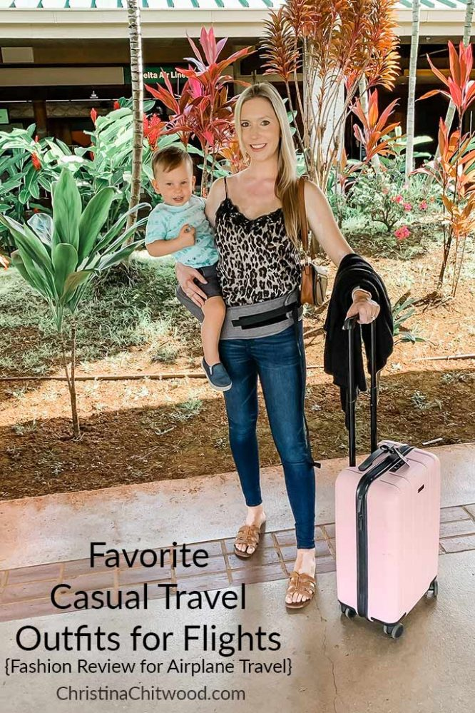 Favorite Casual Travel Outfits for Flights {Fashion Review for Airplane Travel}