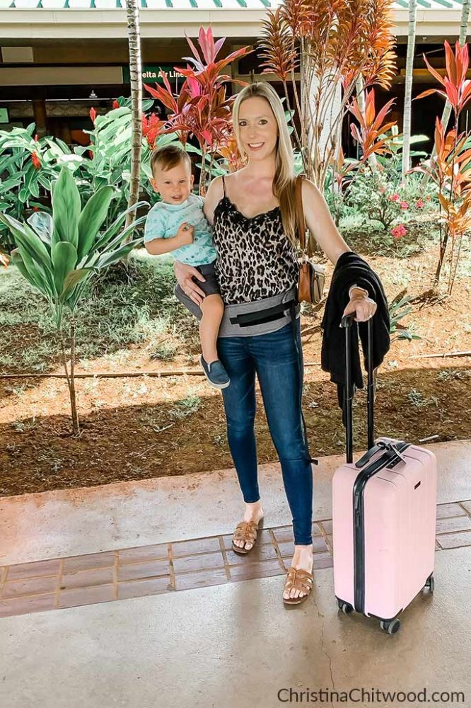 Women's Nordstrom Camisole, American Eagle Jeans, Barefoot Dreams Cardigan, Steve Madden Handbag, Sam Edelman Sandals. MOBY Hip Seat. Toddler Boys Hurley and OshKosh B'Gosh - ChristinaChitwood.com