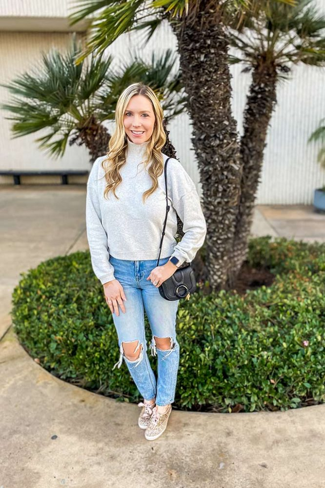 Shop My Style: Casual and Super-Soft Mock Neck Sweatshirt and Mom Jeans
