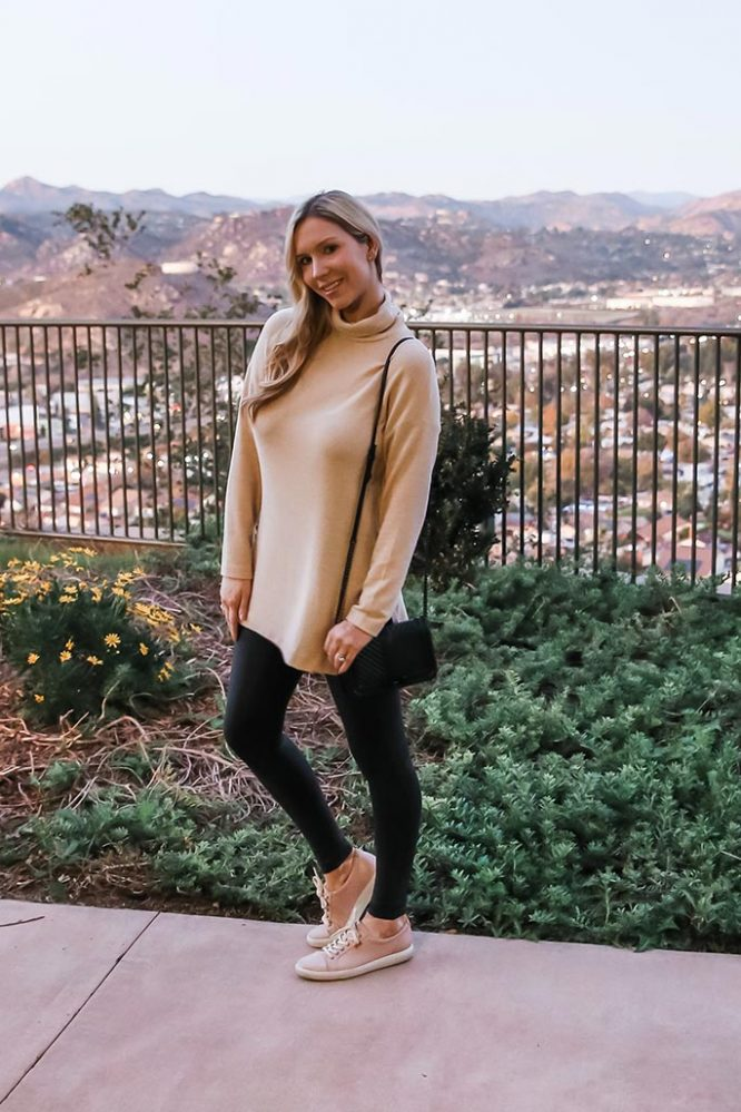 Shop My Style: Super-Comfortable and Casual Long Soft Top with Faux Leather Leggings Outfit
