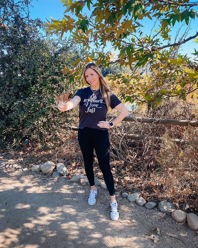 Target Graphic T-Shirt Oh My Gourd I Love Fall {Quick Affordable Style} - Wearing a Target Graphic Tee, Nordstrom Zella Live In Leggings, Adidas Superstar Sneakers - ChrissyChitwood.com